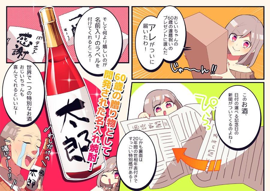 Story manga per dare a papà un regalo con un quotidiano commemorativo (acquisizione del modello di utilità) per la celebrazione del 60 ° compleanno