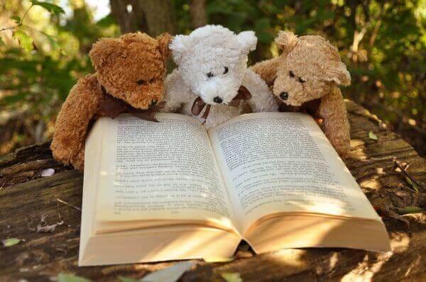 本を読んでいる可愛いクマのぬいぐるみ