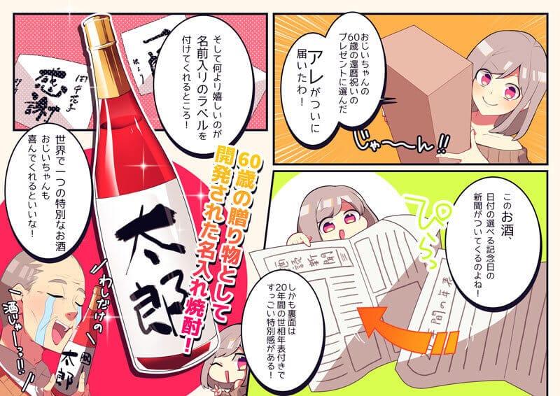 60歳の還暦のプレゼントに60年前の生まれた日の新聞と赤色瓶の名入れ焼酎のマンガ