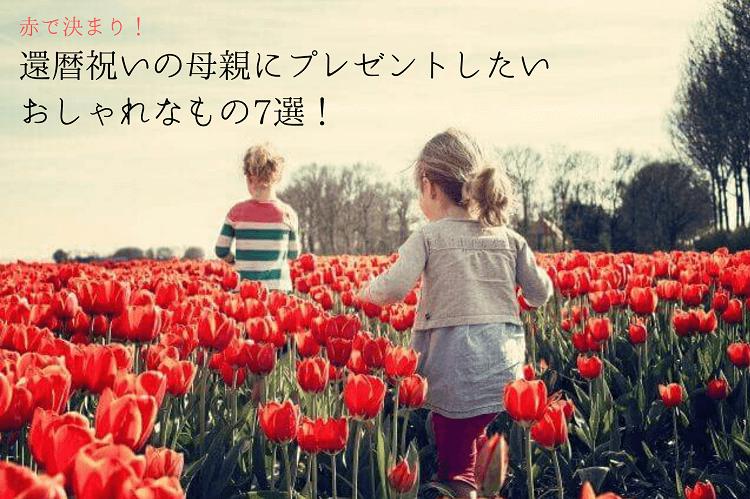 赤いチューリップ畑の中で男女の子供が歩いている様子