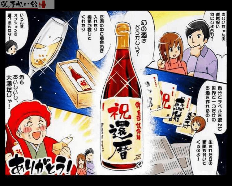 還暦祝いの名入れ酒の魅力を紹介するイラスト