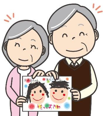似顔絵を持つ夫婦