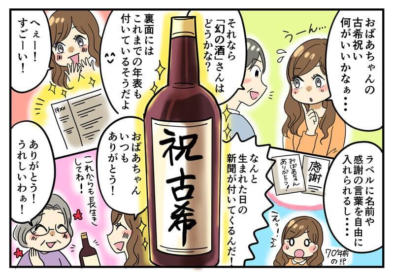 還暦のお母さんに70年前のお誕生日の新聞がついた名入れワインをプレゼントして喜ばれる一連の商品紹介漫画
