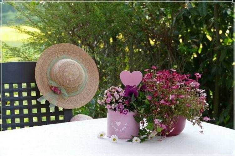 庭のテーブルに置かれたピンクの花の鉢植え2つとテーブルの椅子に掛けられた麦わら帽子