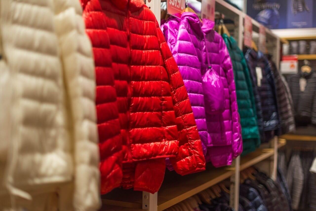 ダウンジャケット赤紫緑白黒
