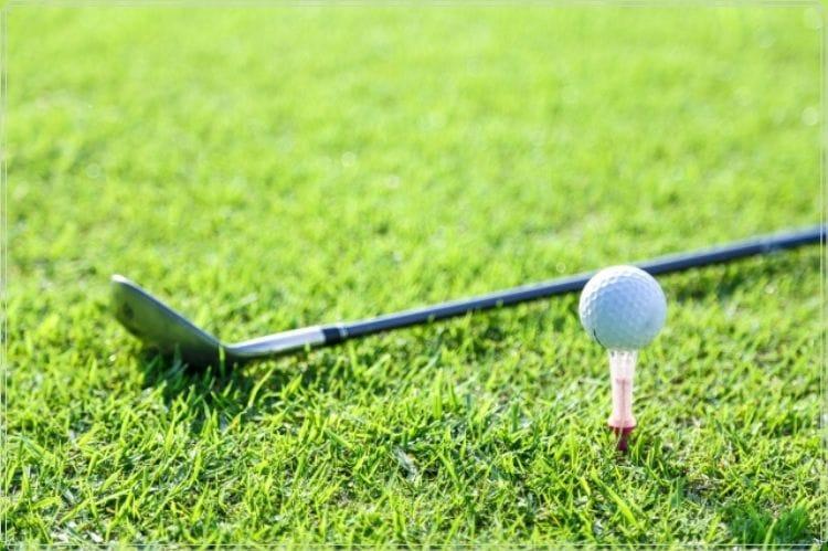 ゴルフボールとクラブが芝の上に置かれている