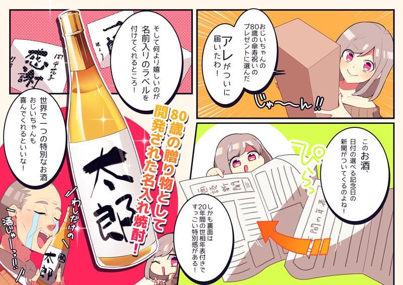 80歳のお祝いに生まれた日の新聞付き名入れ酒をプレゼントするストーリー漫画