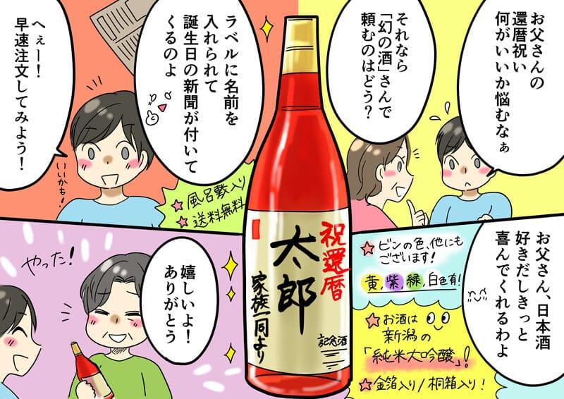 還暦祝いにお父さんに記念日の新聞付きの名入れ酒(実用新案取得)をプレゼントするまでのストーリー漫画