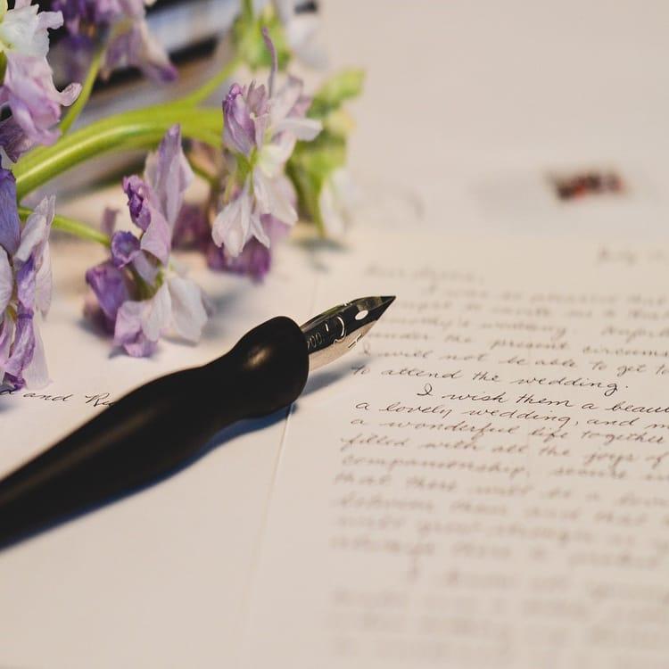 英語で書かれた手紙に紫の花と万年筆が置かれている