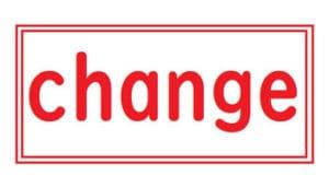 赤いchangeという文字が赤い枠の中に書かれている
