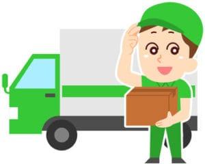 配送業者のトラックとその配達員のイラスト