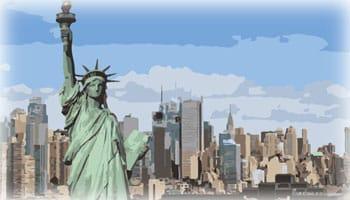 Illustration représentant la Statue de la liberté et les bâtiments qui s'élèvent au-dessus de l'arrière-plan