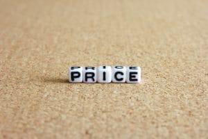 priceと並べられたサイコロ