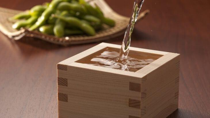 枡酒 日本酒 枝豆