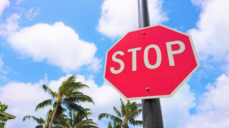 停止の標識