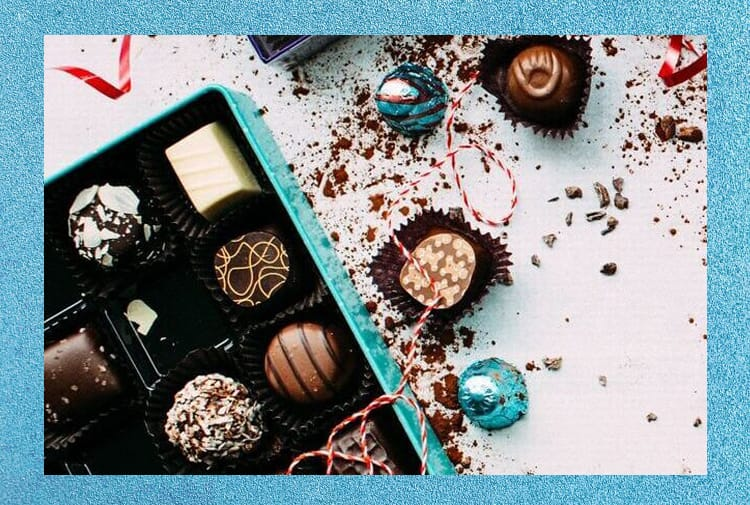 Assorted chocolates in a light blue box